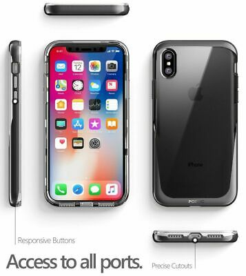 For iPhone X Poetic Lucent Series Metallic Coating Shockproof Bumper Cover Black