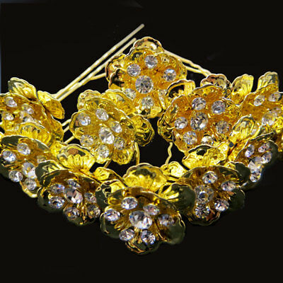 12 Forcine spilloni forcina Gold Flower fermaglio strass capelli acconciatura