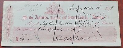 Scotland, Bank of Scotland, Annan branch used Cheque dated 1878, revenue 75
