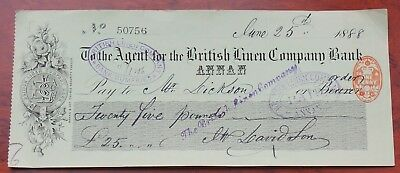 Scotland, British Linen Co. Bank, Annan branch used Cheque 1888, order/ bearer