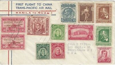 1937 Philippines FFC Manila to Guam with 12 Stamps - Trans-Pacific Airmail Cover