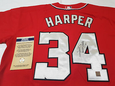Washington Nationals #34 Bryce Harper Authentic Hand Signed MLB Jersey + COA
