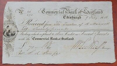 Scotland, Commercial Bank of Scotland, Edinburgh, £70 deposit receipt dated 1856