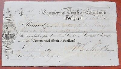 Scotland, Commercial Bank of Scotland, Edinburgh, £50 deposit receipt dated 1856