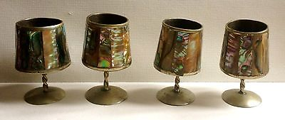 Four Vintage Alpaca Silver Mexico Abalone Mother of Pearl Shot Cordial Goblets