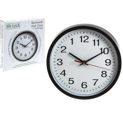 "Backwards Wall Clock 10"" Clock Reverse Funny Gift Anti Clockwise Round Tick"