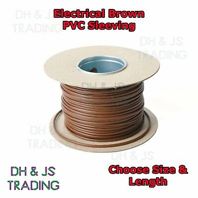 Electrical PVC Sleeving Brown 2mm 3mm 4mm Tubing Wire Cable Socket Insulation