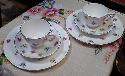 Crown Staffordshire FLORAL BOUQUET Patterns Smooth Cups Saucers & Dessert Plates