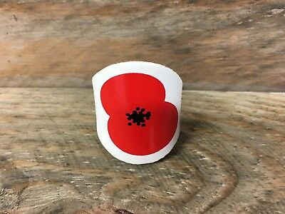Leather Scout Woggle  - Remembrance Day Poppy Scout Woggle