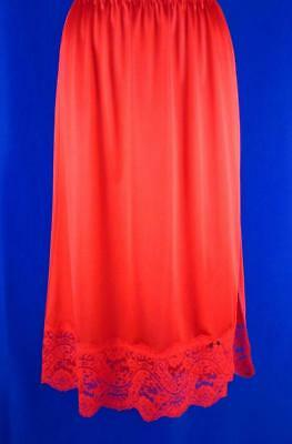 Applause~Gorgeous Wide Lace~Dance Length Half Slip~Lipstick Red~M/L