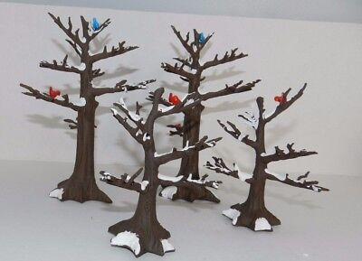 4 Department 56 Snow Covered Bare Trees Red Birds Blue Birds Christmas Village