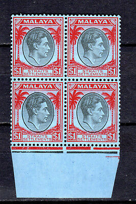 Malaya Straits Settlements 1938 Kgvi $1.00 In Block Of 4 Mnh Stamps Un/mm
