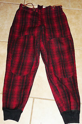 Vtg~WOOLRICH WOOL~Red & Black Plaid~Insulated HUNTING PANTS~Leather Hooks~34x31