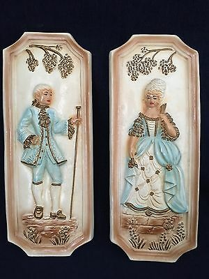 Vintage Clay Wall Hanging Art Victorian Man And Woman