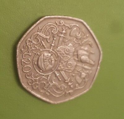 1982 Viking Coat Of Arms Isle of Man 20p coin rare Cash Collection Twenty Pence
