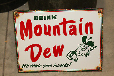 Mountain Dew Real Porcelain Enamel Vintage Style Country Store Advertising