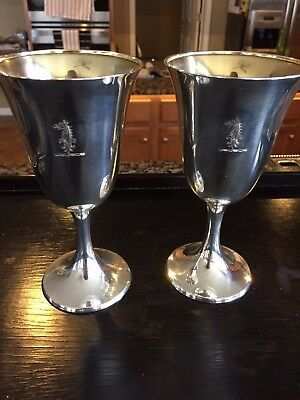 Vintage Pair of Sterling Silver God Washed Goblets