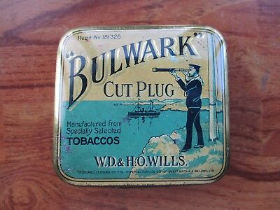 Bulwark Cut Plug Square Hinged Lid Tobacco Tin.