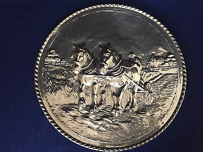 Vintage Brass Aluminum Wall Hanging Plate Horses & Farm Scenery