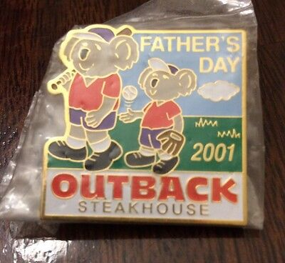 Father's Day Outback Steakhouse Pin Father And Son Baseball 2001 Hat Lapel New