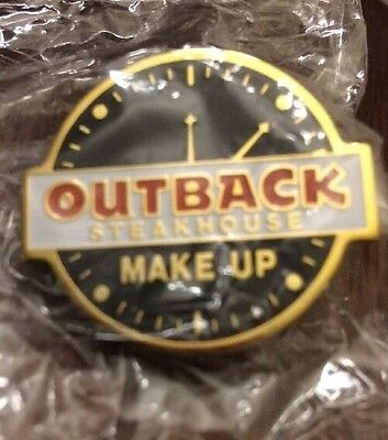 New Outback Steakhouse Make Up Time Clock Pin Employee Collectors Hat Flare