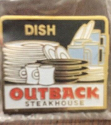 Outback Steakhouse Dish Pin Employee Hat Lapel Pin Cup Plates New In Package