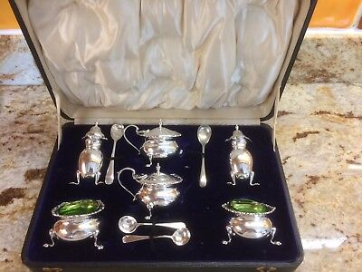 Cruet Set Vintage Antique Sterling Silver 1939