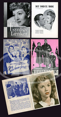 Group of 4 Shirley Temple 1940s Danish Movie Programs - SYWA, IBSY, B&BS, Mr. B