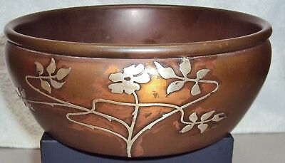 Heintz Art Metal Shop 1858 Sterling on Bronze Round Bowl Platform Base