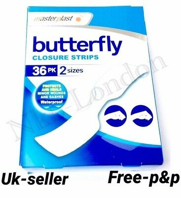 Butterfly Skin Closure Strips / Stitches Waterproof Plasters, 36pack 2 Sizes P&P