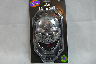 Halloween Spooky Door Bell Loud Talks Skull Eyes Light up Red Decoration Prop