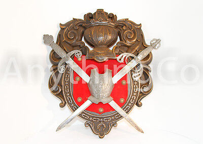 Medieval Heraldry Wall Decoration w Breast Plate with Two Daggers