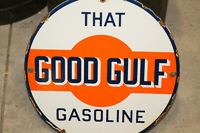 Good Gulf Real Porcelain Enamel Sign Gas Pump Plate Vintage Style Advertising