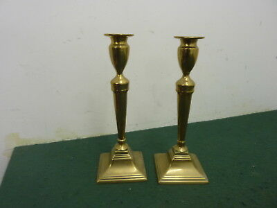 Pair of 27 cm Heavy 1.1 kg Solid Brass Candlesticks with Square Bases