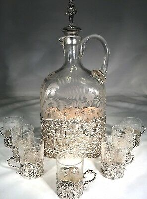 Antique Rare 1800's 925 Silver Decanter With 6-.800 Silver Cups, Set, No Reserve