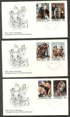 NORMAN ROCKWELL BOY SCOUT STAMPS on covers - 5 different 15¢ stamps