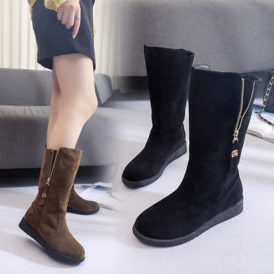 Women Ladiea Low Heel Mid Calf Boots Suede Zipper Decor Casual Shoes Pull On Sno