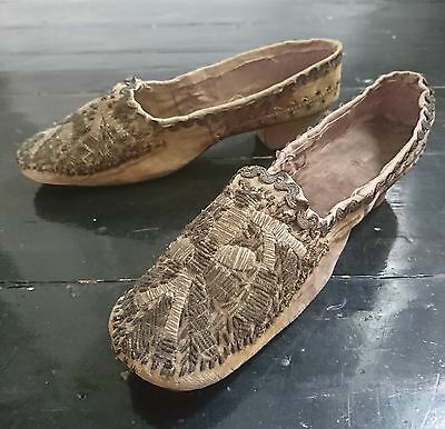 19th Century c.1850s Ottoman / Turkish Embroidered Shoes - Antique Fashion
