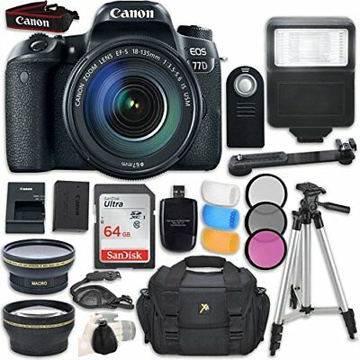 Canon EOS 77D with Canon EF-S 18-135mm f/3.5-5.6 IS USM Lens + Accessory Bundle