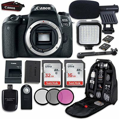 Canon EOS 77D DSLR Camera (Body Only) + LED Light + Microphone + Video Accessory