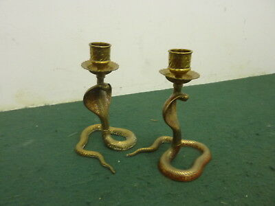 Pair of 14 cm 514 g Solid Brass Cobra Snake Candlesticks