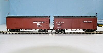 Two On30 Wood Sided Box Cars: Pennsylvania 556 & Rio Grande 3524
