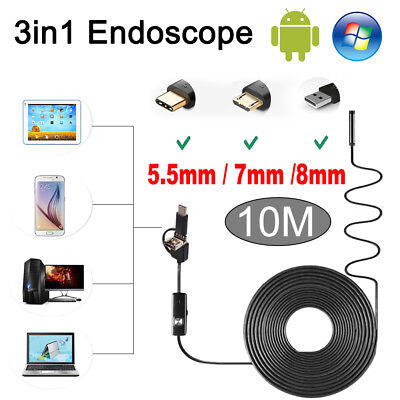 7/8mm Android Endoscope Waterproof Snake Borescope USB Inspection Camera 6 LED