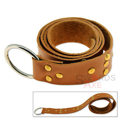Studded Templar Belt 7oz Cordura Leather Ring Loop Adjustable Tanned Medieval