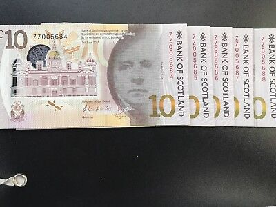 Uncirculated Bank Of scotland £10 Ten Notes ZZ Serial Numbers