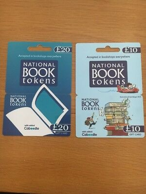 National Book Tokens £20 + £10 Gift Cards.  Unused.