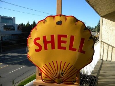 """SHELL BIG OLD PORCELAIN SIGN ~18"""" x17-1/2"""" GAS STATION OIL PUMP ADVERTISING LUBE"""