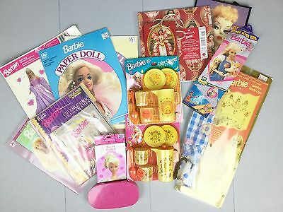 Vintage Mattel BARBIE HUGE LOT Party Set Dishes Paper Dolls Wall Stickers Decals