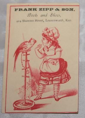 Antique Victorian Trade Card Shoes Leavenworth KS Exotic Bird Girl Red Print Adv