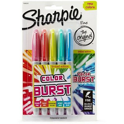 Lot of 2 - Sharpie Color Burst Permanent Markers, Fine Point, Assorted, 5-Pack